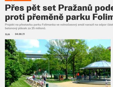 a2larm.cz: Přes pět set Pražanů podepsalo petici proti přeměně parku Folimanka
