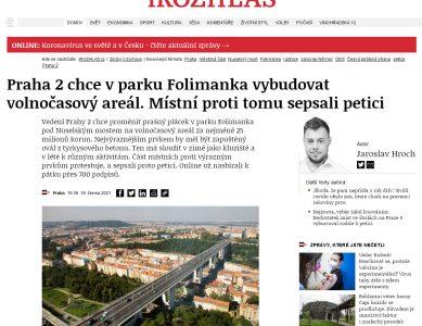 iRozhlas.cz: Praha 2 chce v parku Folimanka vybudovat volnočasový areál. Místní proti tomu sepsali petici