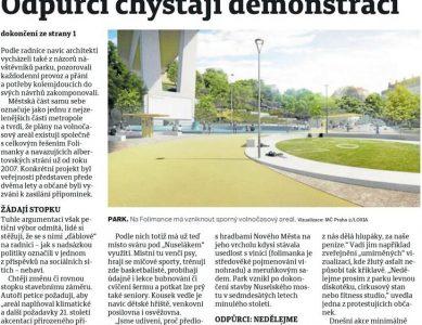 Pražský deník: Občanům se nelíbí plány s parkem Folimanka
