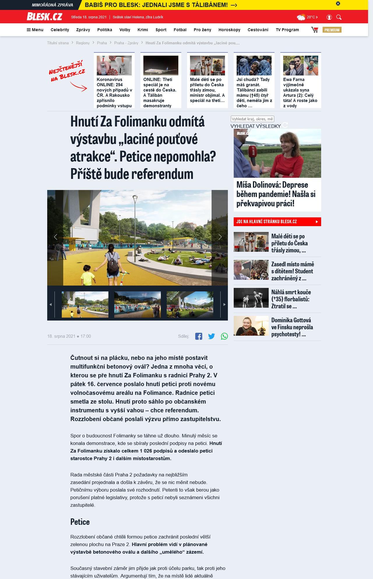 """Blesk: Hnutí Za Folimanku odmítá výstavbu """"laciné pouťové atrakce"""". Petice nepomohla? Příště bude referendum"""